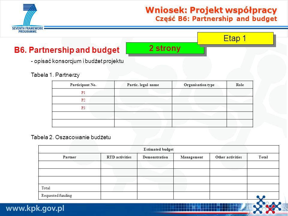 Wniosek: Projekt współpracy Część B6: Partnership and budget