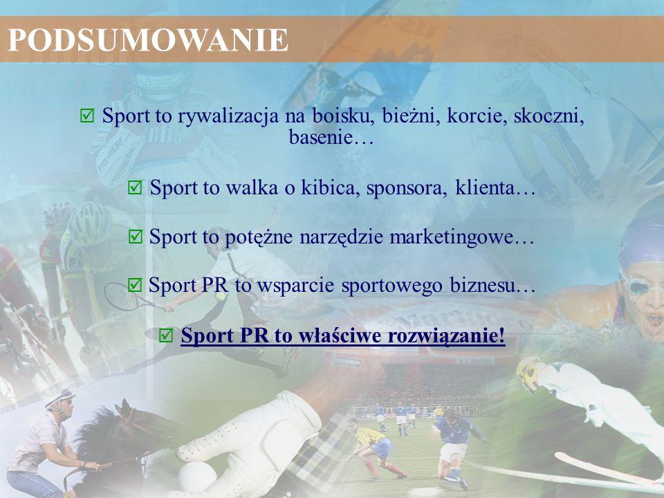 PODSUMOWANIE  Sport to rywalizacja na boisku, bieżni, korcie, skoczni, basenie…  Sport to walka o kibica, sponsora, klienta…