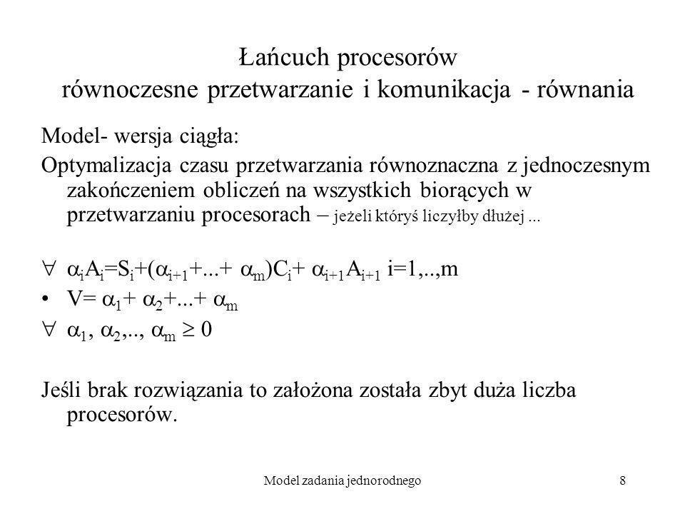 Łańcuch procesorów równoczesne przetwarzanie i komunikacja - równania
