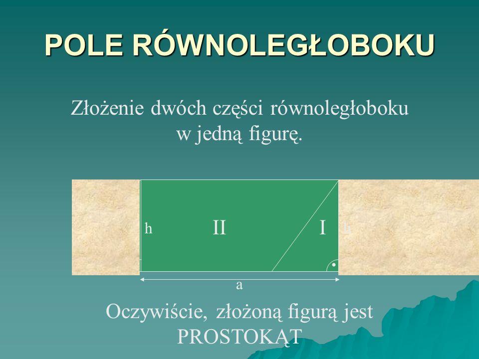 POLE RÓWNOLEGŁOBOKU Złożenie dwóch części równoległoboku w jedną figurę. h. I. II. . h. I. II.