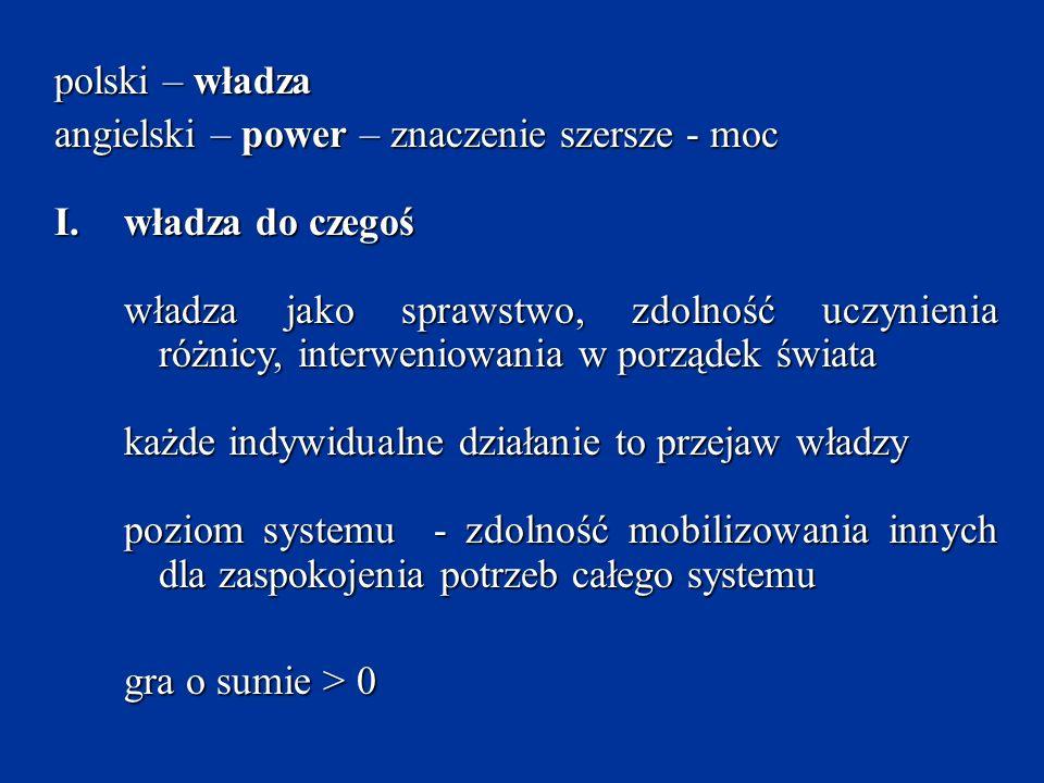 polski – władza angielski – power – znaczenie szersze - moc. władza do czegoś.
