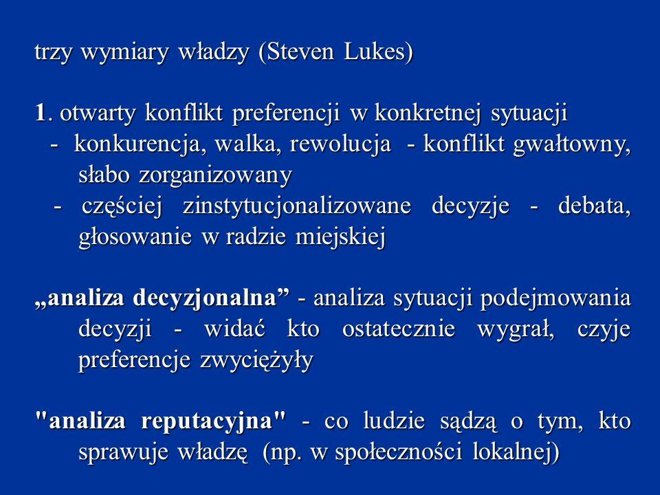 trzy wymiary władzy (Steven Lukes) 1. otwarty konflikt preferencji w konkretnej sytuacji.