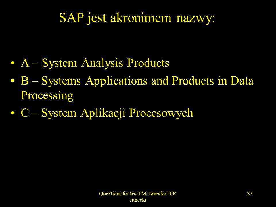 SAP jest akronimem nazwy: