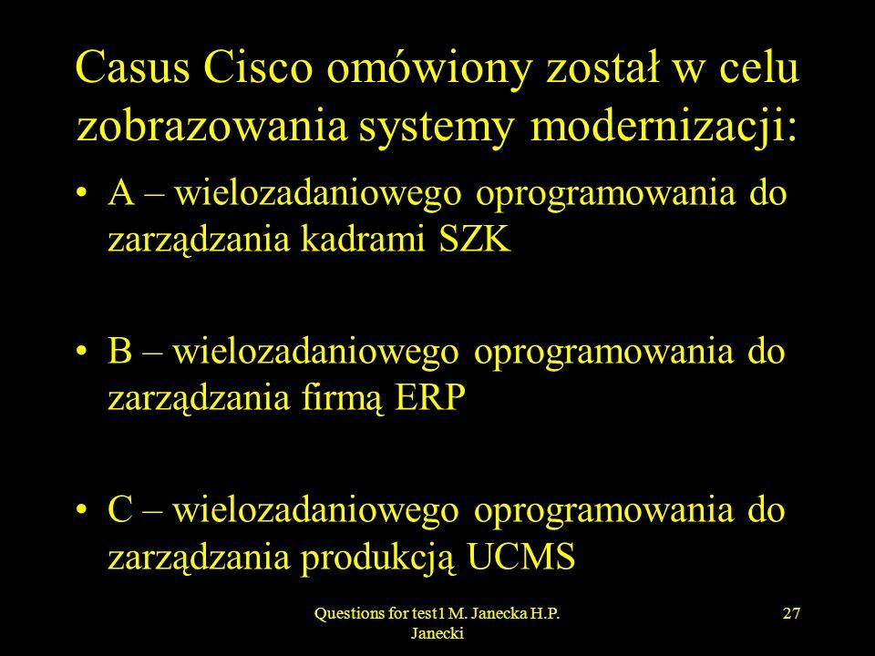 Casus Cisco omówiony został w celu zobrazowania systemy modernizacji: