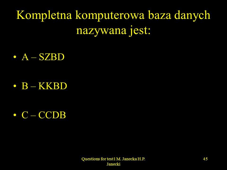 Kompletna komputerowa baza danych nazywana jest: