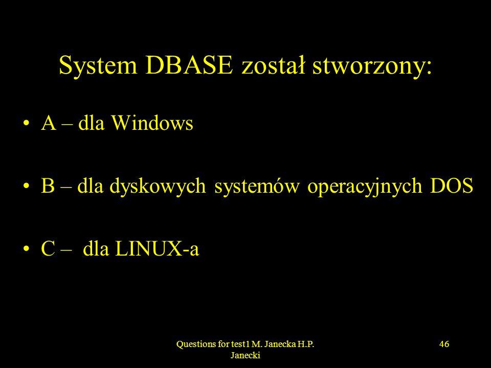 System DBASE został stworzony: