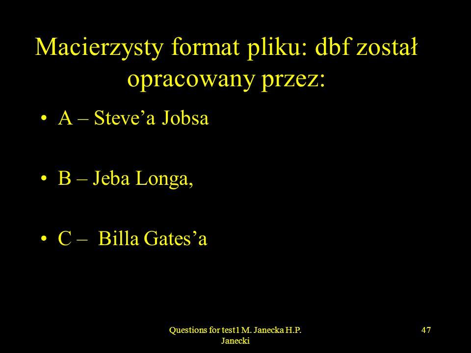 Macierzysty format pliku: dbf został opracowany przez: