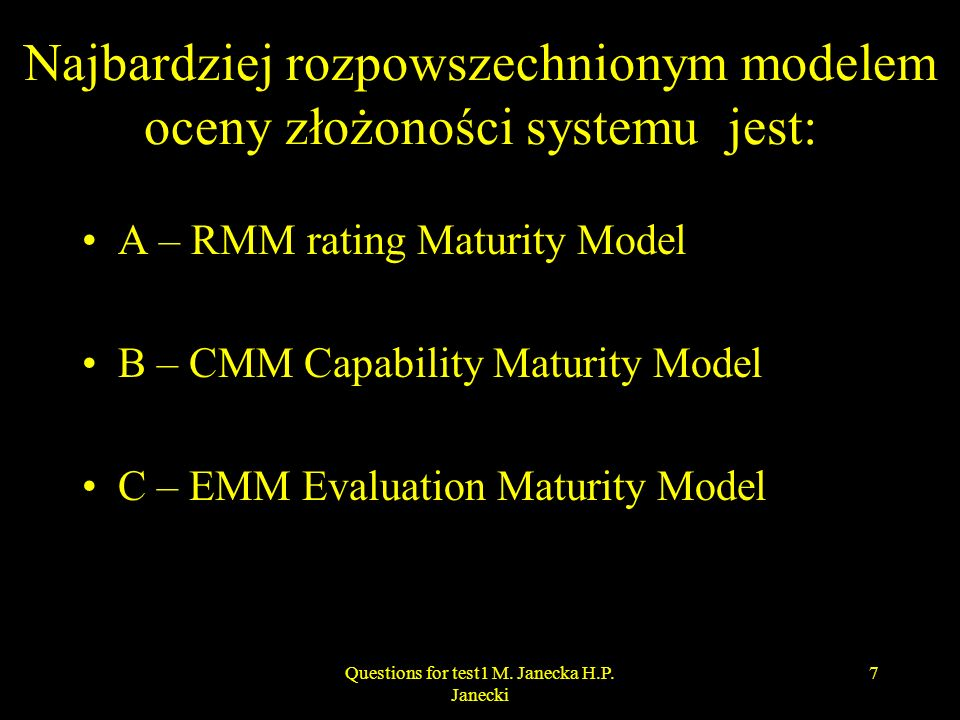 Najbardziej rozpowszechnionym modelem oceny złożoności systemu jest: