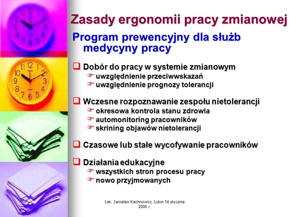 Zasady ergonomii pracy zmianowej