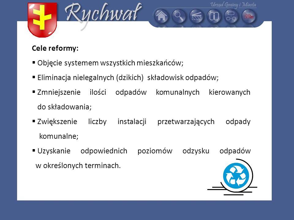 Cele reformy: Objęcie systemem wszystkich mieszkańców; Eliminacja nielegalnych (dzikich) składowisk odpadów;