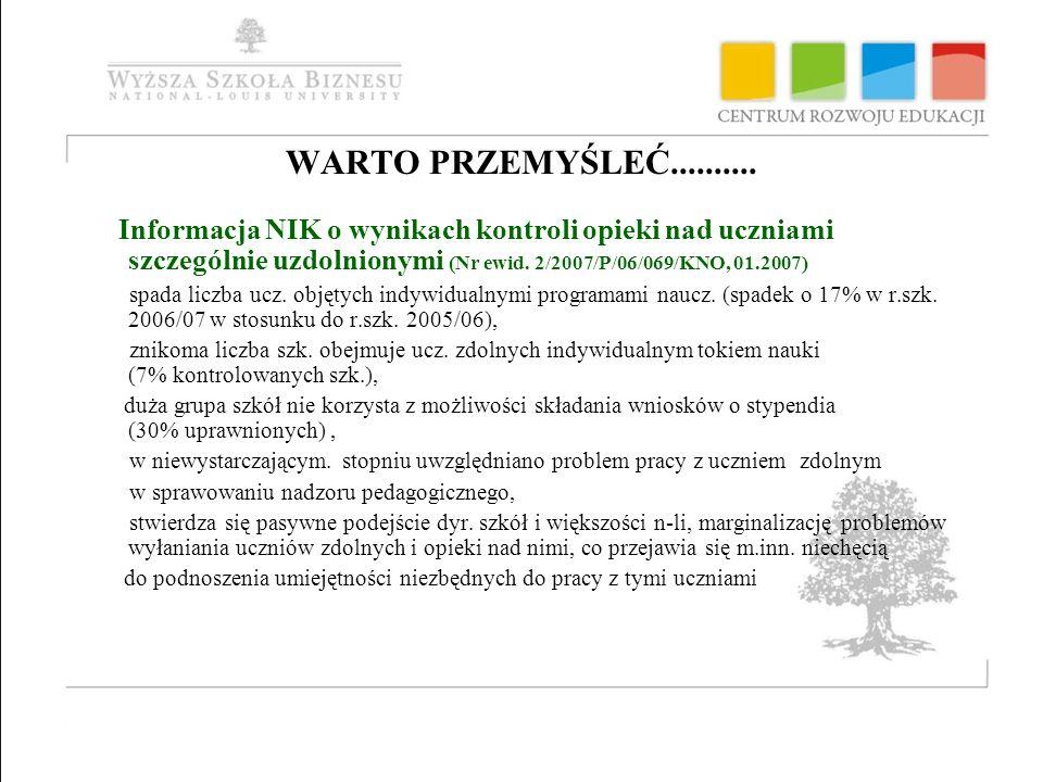 WARTO PRZEMYŚLEĆ.......... Informacja NIK o wynikach kontroli opieki nad uczniami szczególnie uzdolnionymi (Nr ewid. 2/2007/P/06/069/KNO, 01.2007)