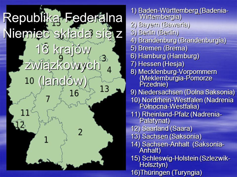 Republika Federalna Niemiec składa się z 16 krajów związkowych (landów)