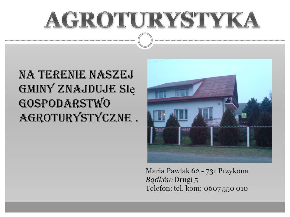 AGROTURYSTYKANa terenie naszej gminy znajduje się gospodarstwo agroturystyczne . Maria Pawlak 62 - 731 Przykona Bądków Drugi 5.