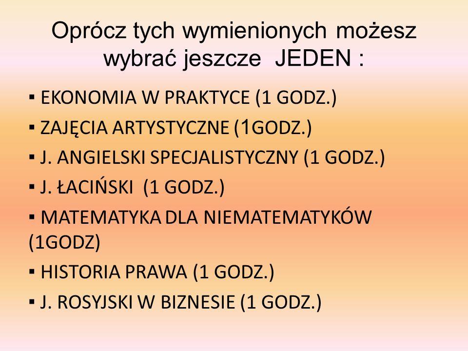 Oprócz tych wymienionych możesz wybrać jeszcze JEDEN :