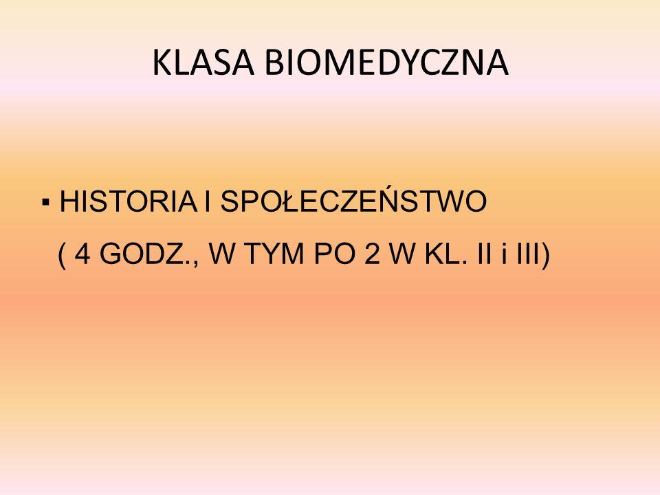 KLASA BIOMEDYCZNA ▪ HISTORIA I SPOŁECZEŃSTWO ( 4 GODZ., W TYM PO 2 W KL. II i III)