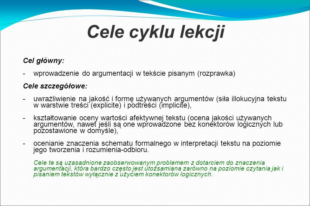 Cele cyklu lekcji Cel główny: