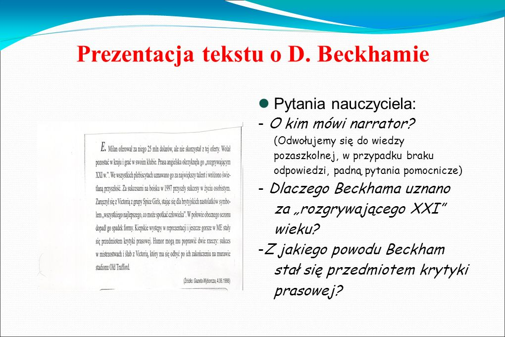 Prezentacja tekstu o D. Beckhamie