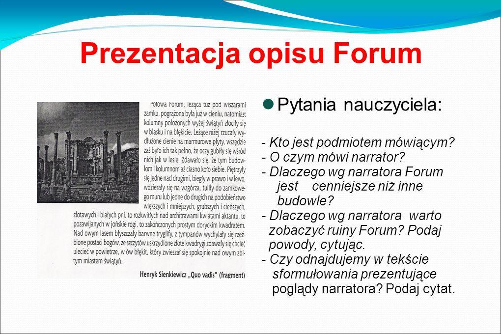 Prezentacja opisu Forum