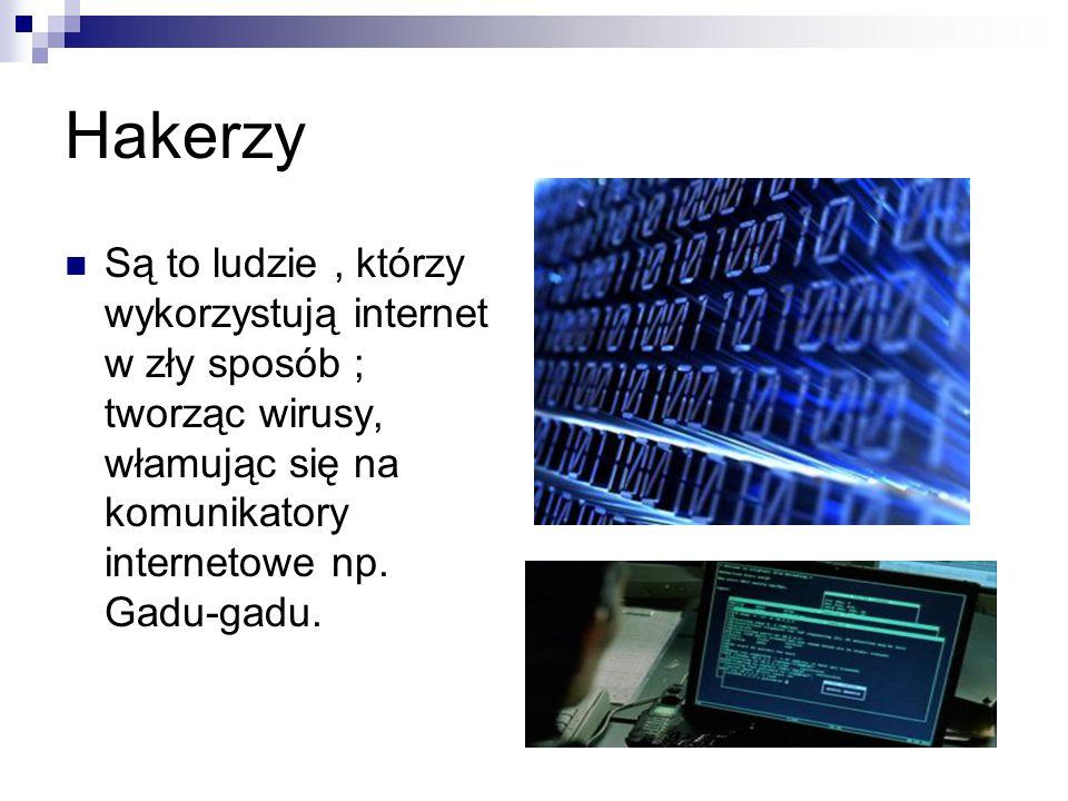 Hakerzy Są to ludzie , którzy wykorzystują internet w zły sposób ; tworząc wirusy, włamując się na komunikatory internetowe np.