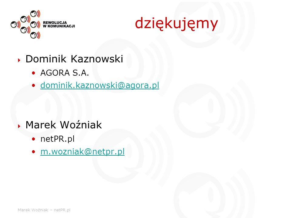 dziękujęmy Dominik Kaznowski Marek Woźniak AGORA S.A.