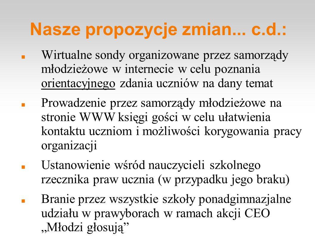 Nasze propozycje zmian... c.d.: