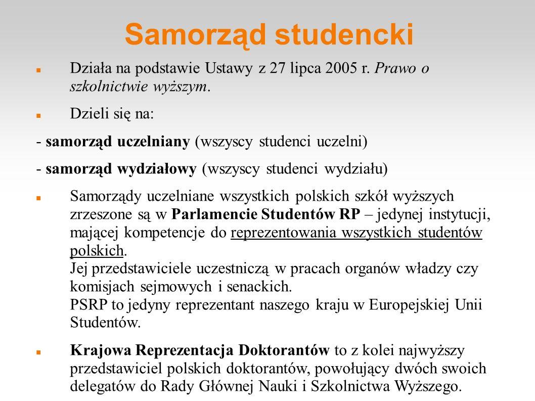 Samorząd studencki Działa na podstawie Ustawy z 27 lipca 2005 r. Prawo o szkolnictwie wyższym. Dzieli się na: