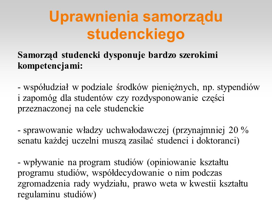 Uprawnienia samorządu studenckiego