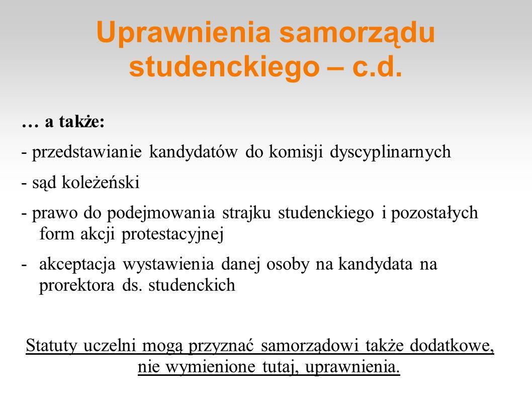 Uprawnienia samorządu studenckiego – c.d.