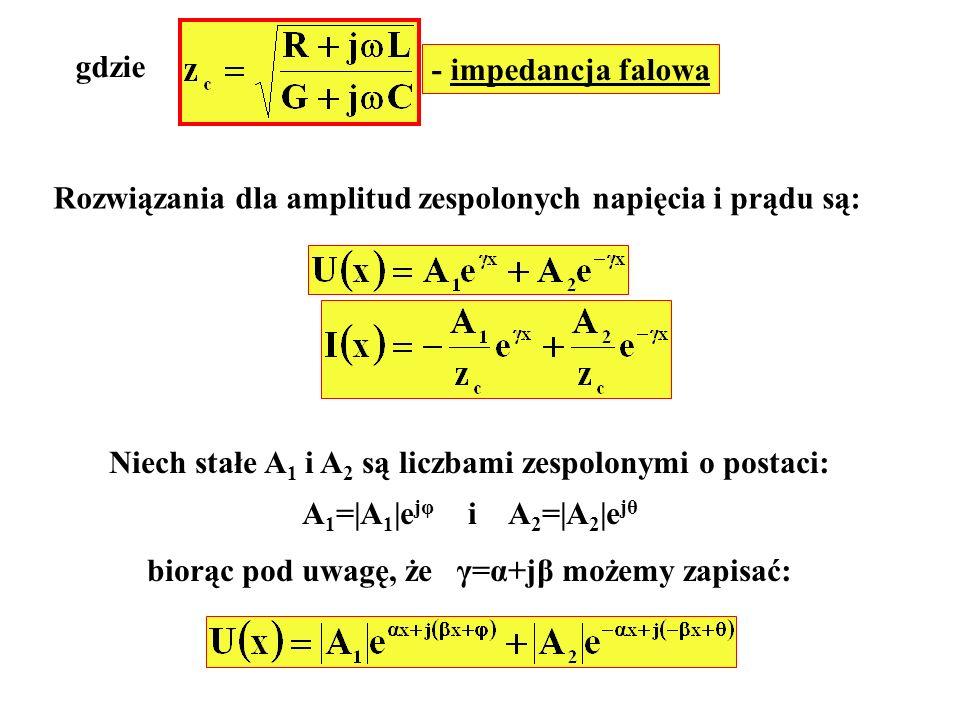 Rozwiązania dla amplitud zespolonych napięcia i prądu są: