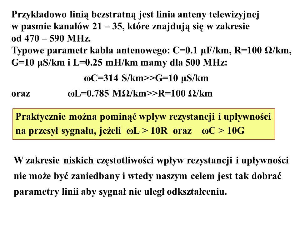 Przykładowo linią bezstratną jest linia anteny telewizyjnej