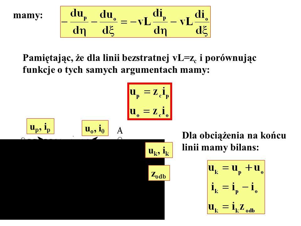 mamy: Pamiętając, że dla linii bezstratnej vL=zc i porównując. funkcje o tych samych argumentach mamy: