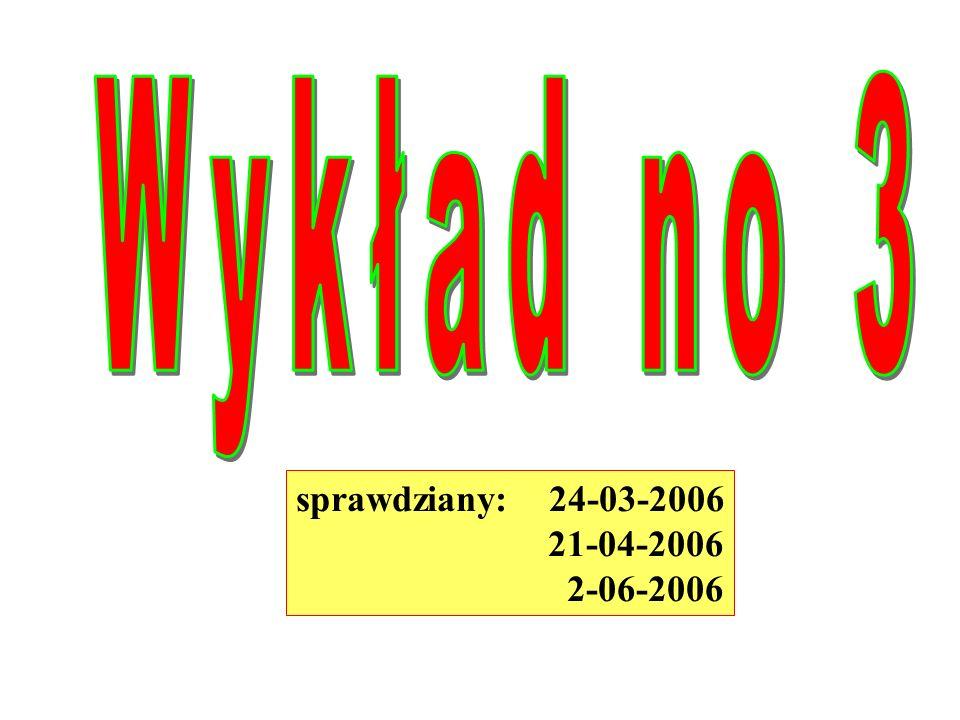 Wykład no 3 sprawdziany: 24-03-2006 21-04-2006 2-06-2006