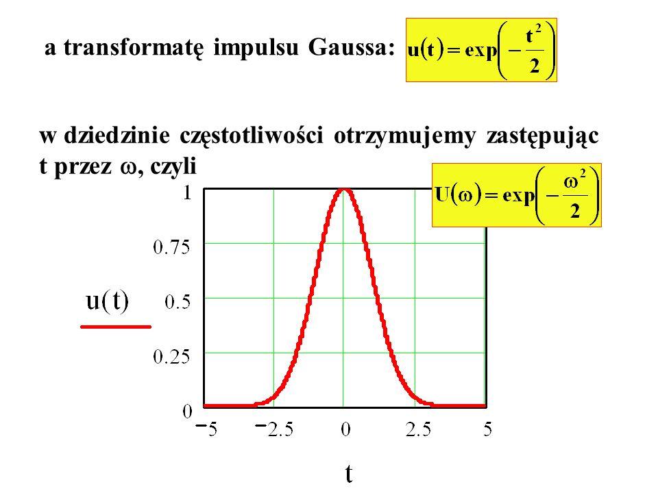 a transformatę impulsu Gaussa: