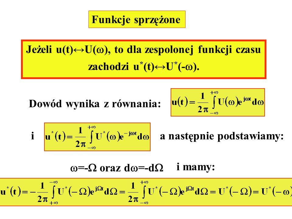 Jeżeli u(t)↔U(), to dla zespolonej funkcji czasu