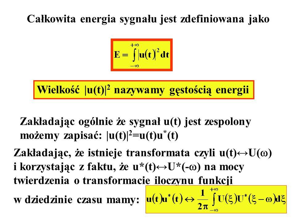 Całkowita energia sygnału jest zdefiniowana jako