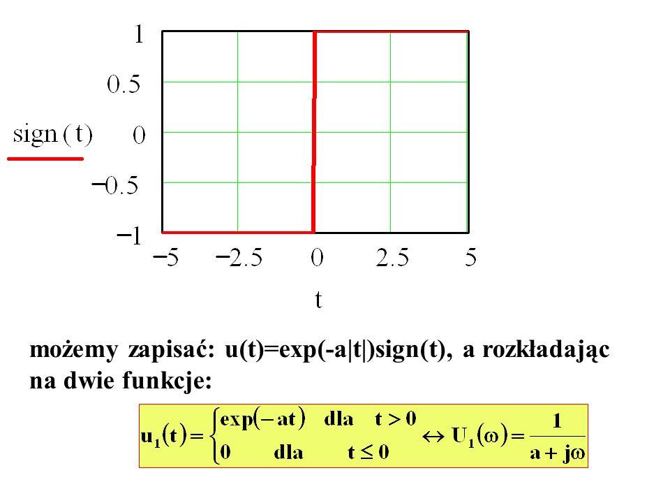 możemy zapisać: u(t)=exp(-a|t|)sign(t), a rozkładając