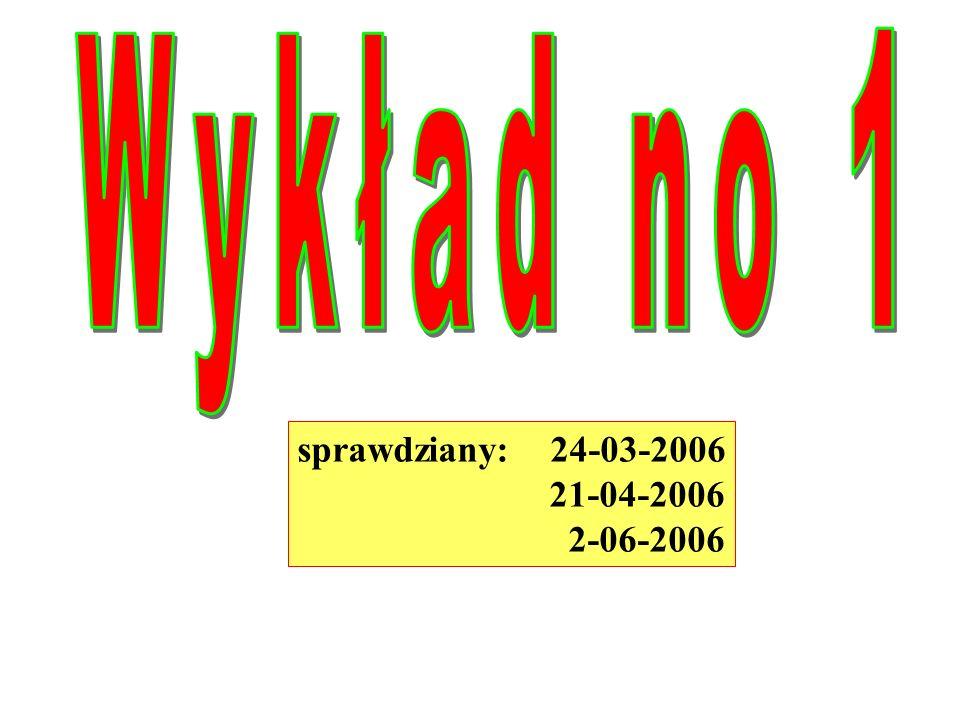 Wykład no 1 sprawdziany: 24-03-2006 21-04-2006 2-06-2006