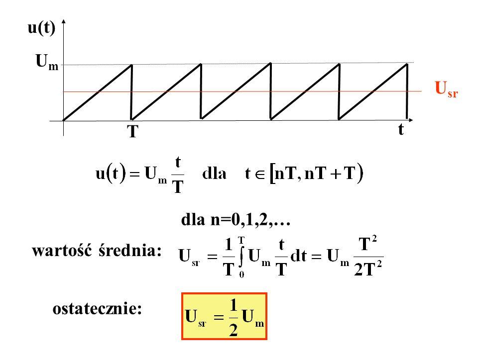 u(t) Um Usr T t dla n=0,1,2,… wartość średnia: ostatecznie: