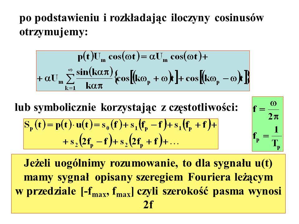 po podstawieniu i rozkładając iloczyny cosinusów otrzymujemy:
