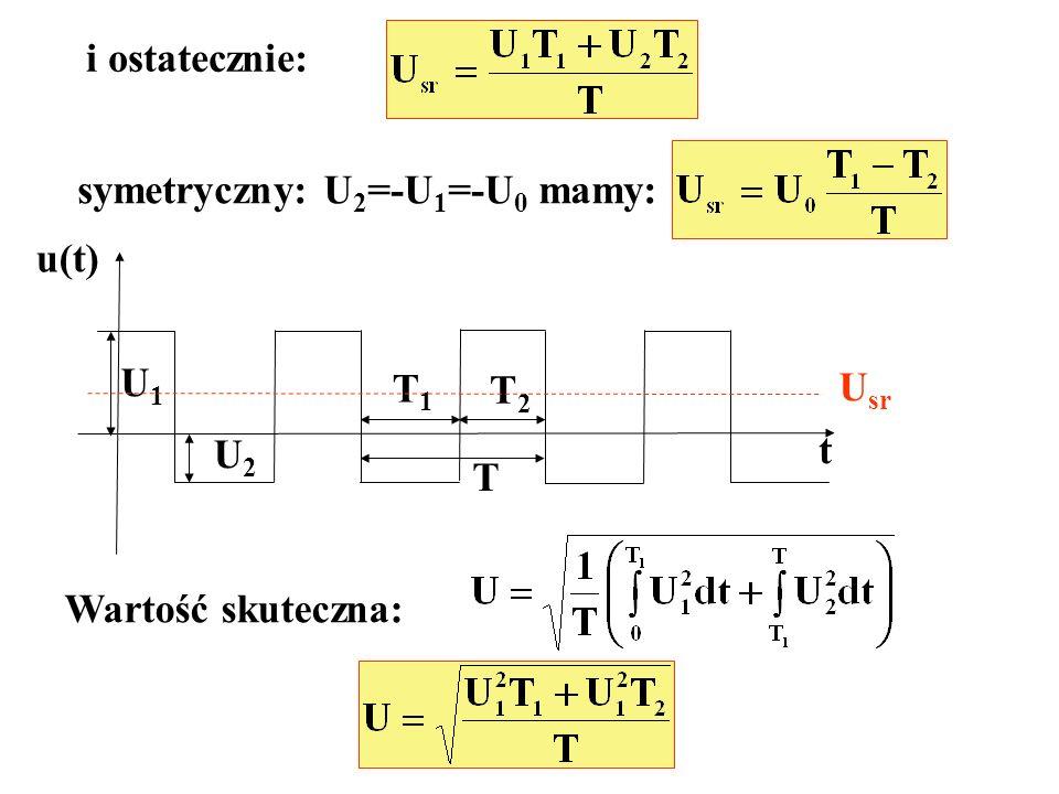 i ostatecznie: symetryczny: U2=-U1=-U0 mamy: u(t) U1 T1 T2 Usr U2 t T Wartość skuteczna: