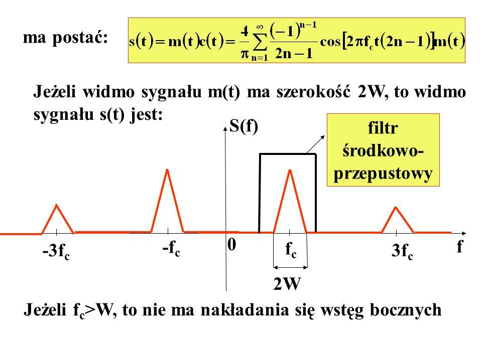 ma postać: Jeżeli widmo sygnału m(t) ma szerokość 2W, to widmo. sygnału s(t) jest: S(f) filtr. środkowo-
