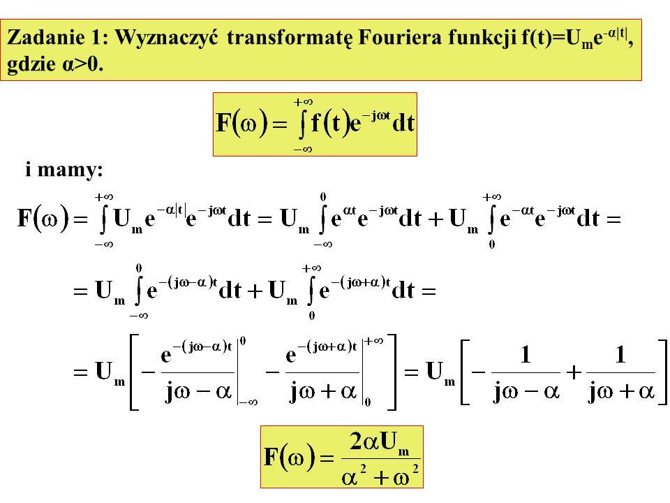Zadanie 1: Wyznaczyć transformatę Fouriera funkcji f(t)=Ume-α|t|,