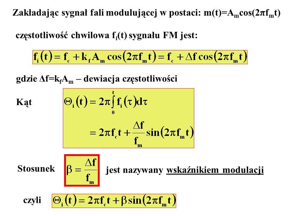 Zakładając sygnał fali modulującej w postaci: m(t)=Amcos(2πfmt)