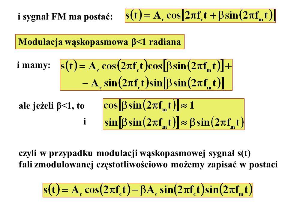 i sygnał FM ma postać: Modulacja wąskopasmowa β<1 radiana. i mamy: ale jeżeli β<1, to. i. czyli w przypadku modulacji wąskopasmowej sygnał s(t)