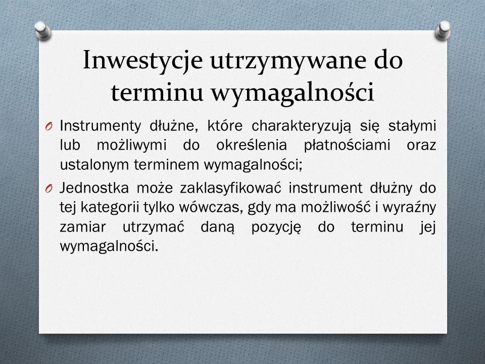 Inwestycje utrzymywane do terminu wymagalności