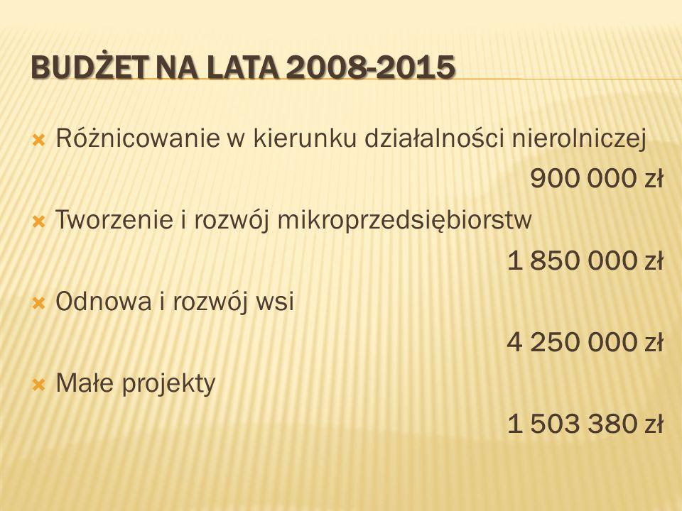 Budżet na lata 2008-2015 Różnicowanie w kierunku działalności nierolniczej. 900 000 zł. Tworzenie i rozwój mikroprzedsiębiorstw.