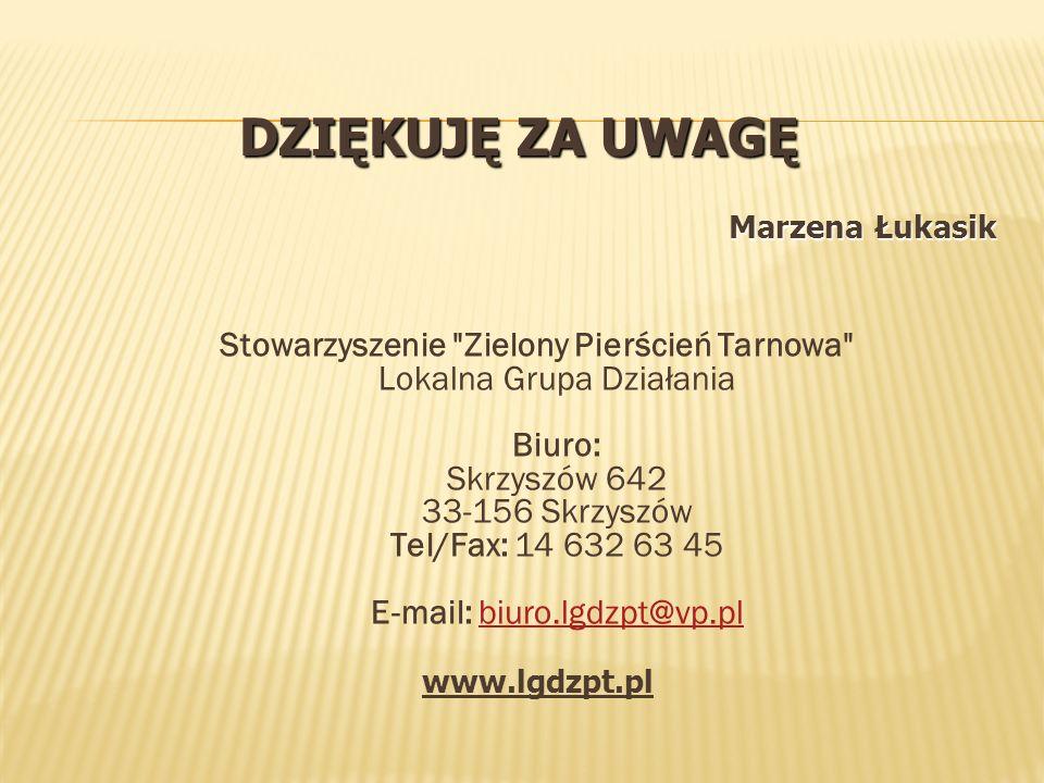 Dziękuję za uwagę Marzena Łukasik.