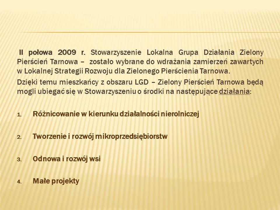 II połowa 2009 r. Stowarzyszenie Lokalna Grupa Działania Zielony Pierścień Tarnowa – zostało wybrane do wdrażania zamierzeń zawartych w Lokalnej Strategii Rozwoju dla Zielonego Pierścienia Tarnowa.