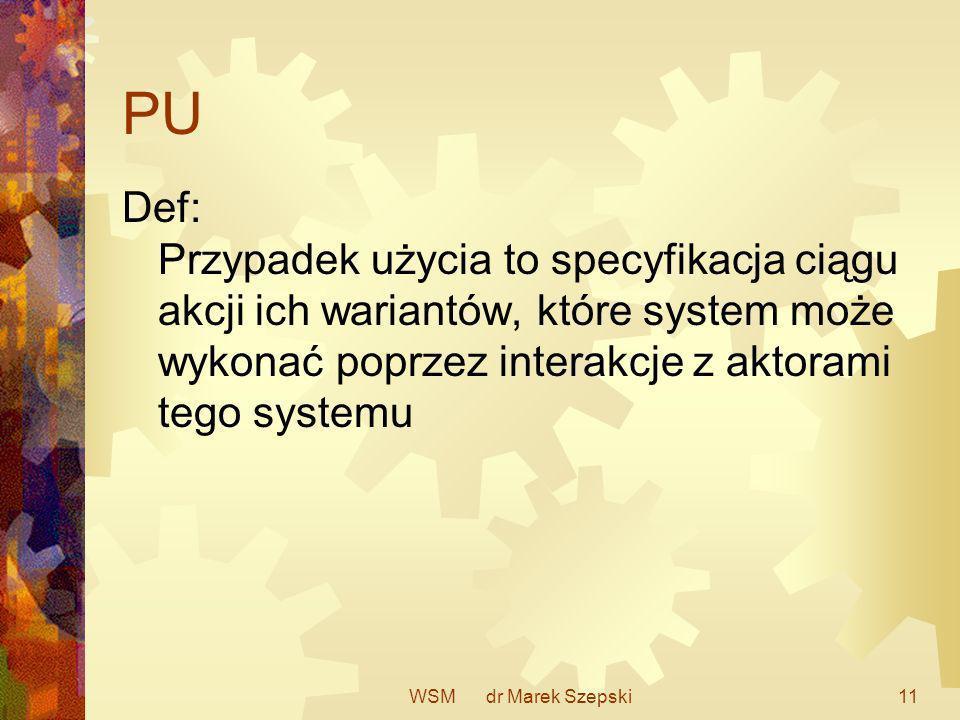PU Def: Przypadek użycia to specyfikacja ciągu akcji ich wariantów, które system może wykonać poprzez interakcje z aktorami tego systemu.