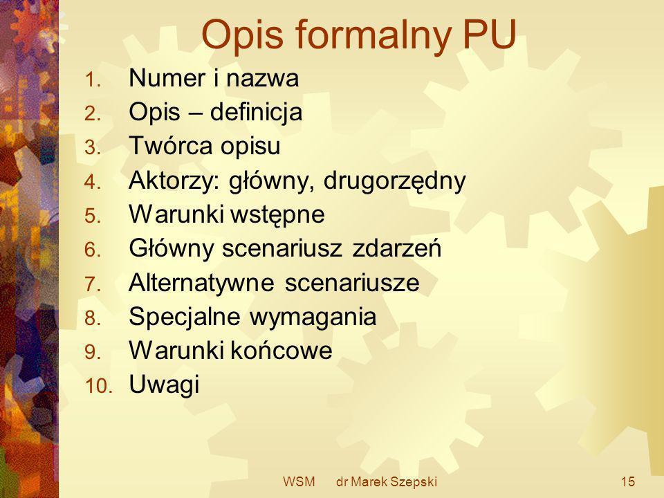 Opis formalny PU Numer i nazwa Opis – definicja Twórca opisu